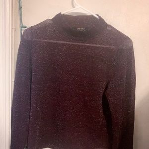 sheer dark red glittery mock neck party top